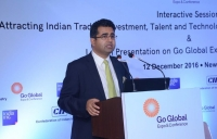 India Inc. Founder & CEO Manoj Ladwa opens the Go Global launch session in New Delhi in December 2016.