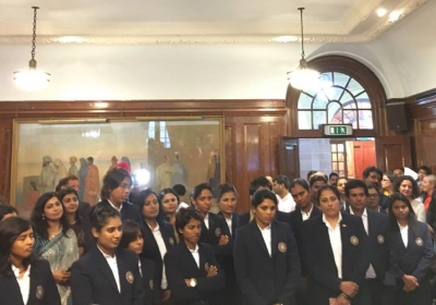 The Indian Women's Cricket Team at India House in London.