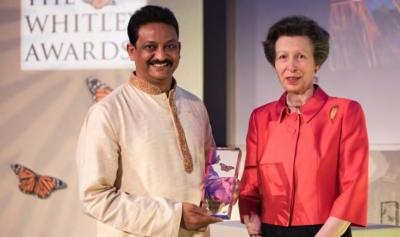 Winner Sanjay Gubbi at the 2017 Whitley Awards with the Princess Royal