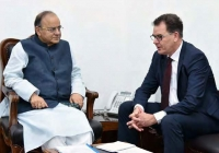 Indian  nance minister Arun Jaitley with German Federal Minister for Economic Cooperation Development, Gerd Mueller