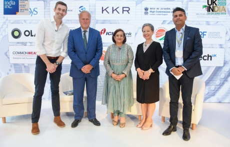 (L to R) Ben Thompson, BBC Presenter, Lord Marland, Chair, CWEIC, Debjani Ghosh, President, Nasscom, Jacqueline de Rojas CBE, President TechUK, Anand Verm, CEO, Briliant Basics in Innovation at a Crosroads panel at India Inc. Leaders' Summit 2019
